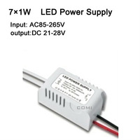 Free shipping 7X1W led power driver, lamp driver, AC85-265v external LED power supply input for E27 GU10 E14 LED lamp, spotlight