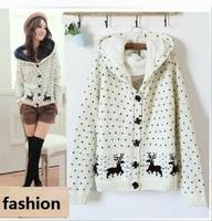 Free Shipping 2013 Winter Women Cardigan Sweater Coat Deer Pattern Plus Thick Velvet Hooded Short Outerwear Female