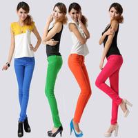 Free shipping women jeans long Slim 2013 female autumn plus size casual women's denim elastic candy multicolour pencil pants