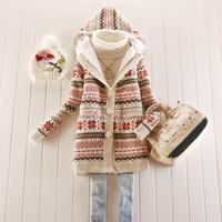 2013 Autumn And Winter Snowflake Pattern Thick Velvet Single-Breasted Coat Medium Long Sweater Cardigan Coat Female F24