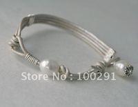 Free ship! 10pcs Fashion natral white 9-10mm 2mm hole natural freshwater pearl bead leather bangle bracelet