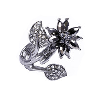 [min time-limited new arrival 15usd]_ 2014 flower accessories full rhinestone silver three-dimensional black leaves elastic ring