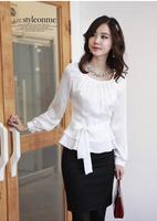 Ladies business wear Elegant Belt Tie Peplum Satin Blouses Women Sweet Career Long Sleeve Silk Shirts