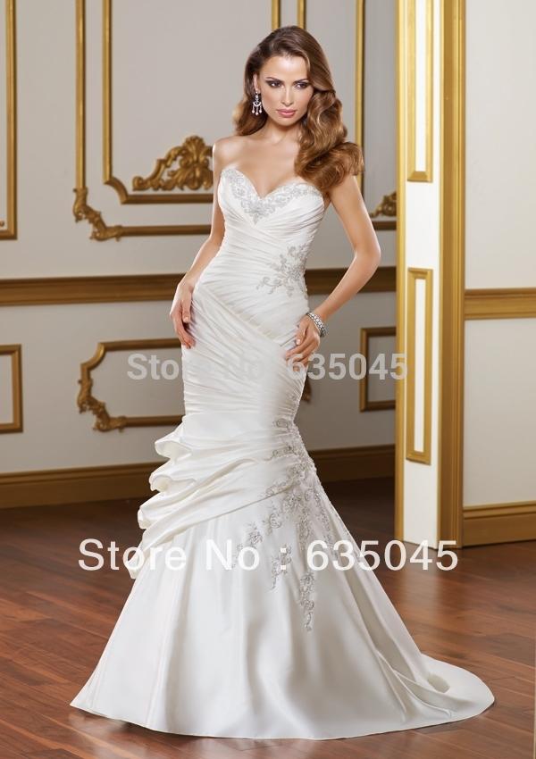Top Quality Custom Made Satin Pleat Embroidery Beading Crystal Mermaid Wedding Dress Bride Dresses Robe De