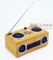 cheap amazing Bamboo radio multifunctional solid wood speaker portable mp3 speaker sound card