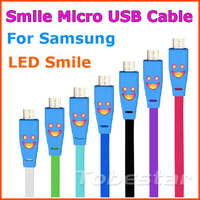 100pcs Noodle Flat Smile Face Micro USB Charger Sync Data Cable for Samsug Galaxy S3 S4 i9300 i9500 Note 2 HTC NoKIA
