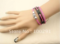 Free shipping!! 20pc/lot Super fine high-quality leather  bracelet(black)