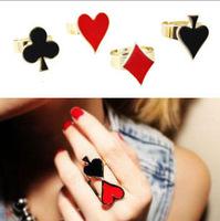 Free Shipping Korea Murua Poker Face 18KGP Metalic Adjustable Heart Clubs Spades Female Ring Wholesale
