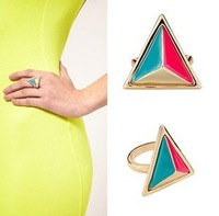 Free Shipping Europe Brand Three Dimensiona 3D 18KGP Triangle Neon Colorblock Punk Ring Wholesale