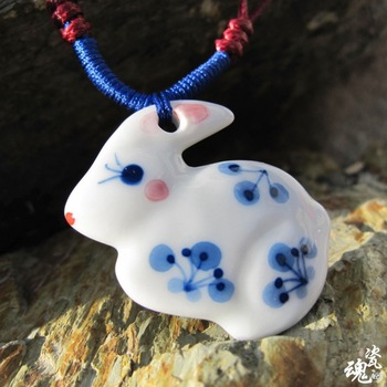 Handmade lifelike cute rabbit bunny ceramic crafts pendant necklace jewelry porcelain long sweater chain gifts S023