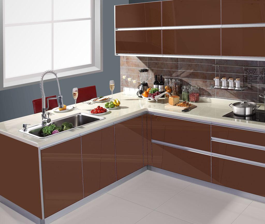 Uv verf deur modulaire keuken kast aanpassen kast kwarts stenen aanrecht een stuk donkere - Prijs kwarts werkblad ...