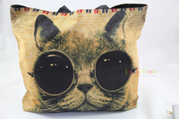 Cat with Sunglasses Soft Foldable Tote Women's Shopping Bag Shoulder Bag Lady Handbag Pouch,light weight,washable