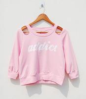 Brief 2013 autumn letter print strapless short design sweatshirt long-sleeve T-shirt outerwear female shirt