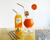 High quality 5pcs / lot Metal Drinking Straw Stainless Steel Drinking Straw 8inch Length With Ten Laps On Body