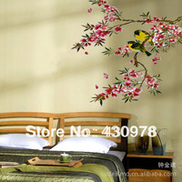 QZ280 Free Shipping 1Pcs Birds Singing On Branch Pink Flower Removable PVC Wall Stickers Home Decoration Gift
