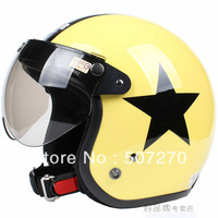 "E.121 3/4 Taiwan "" SYC "" Retro Motorbike Ebike Casco Motorcycle Yellow # Black Star Helmet & UV "" W "" Lens & Visor Adult"