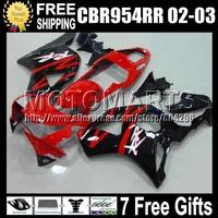 7gifts For HONDA 02-03 Red black CBR954RR 02 03 CBR900RR 954 954RR Q6753 CBR 900RR CBR954 RR 2002 2003 Factory red HOT Fairing