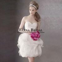 Free Shipping Romantic Sweetheart Neck Strapless Organza Knee Length Princess Ball Gown Wedding Dress Zipper Short  Wedding Gown