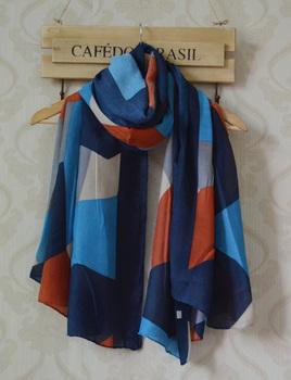 2013 New Autumn-winter ladies' rayon scarf,Free shipping,long Women shawl,geometry print,block print,long hijab,head wraps