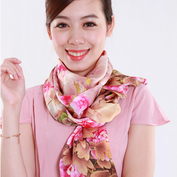 Meters rich peony digital silk scarf silk autumn and winter long scarf design female