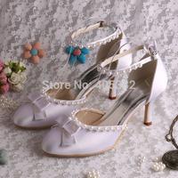 Dropshipping European Women Sandals Peal Wedding Fashion Pumps Ankle-wrap Beaded Women Shoes Size 10 Free