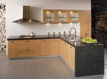 Professional Modular Kitchen Cabinet Quality Quartz Stone Countertop Oak Pure