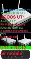 [ Free air mouse RC12 ]1.8GHZ  Mini PC 2G RAM 8G ROM  Dual External Wifi Antenna  Android 4.2  RK3188 Quad core TV BOX Ugoos UT1
