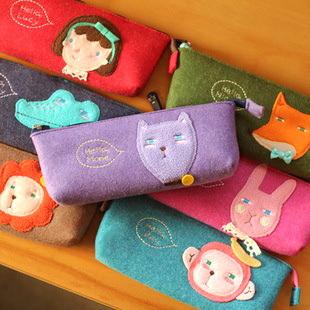 Korea cartoon small animal shape mini bags coin purse storage bag felt pencil bag felt pencil case