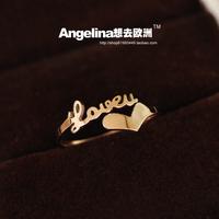 Free shipping Elegant small 18k rose gold titanium eternal love letter ring female pinky ring gift