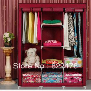 Simple wardrobe folding cloth wardrobe double wardrobe steelframe Large