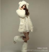 Korean Women sherpa plush bear ears furry winter coat jacket wholesale manufacturers