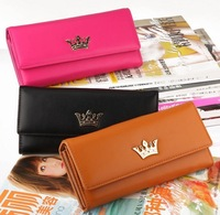 Wholesale 2013 New Fashion Designer clutch bags PU Leather Hasp long wallet Retro Crown purses for Womens,More Colors-Free Ship