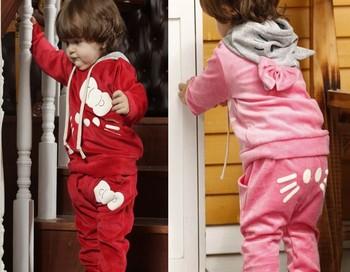 Kitty Girl's Tracksuits baby girls Velvet Kitty cat sport suits Girls cat Hooded long sleeved sweater + cat pp pants