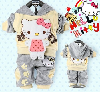 RETAIL best quality Girl'stracksuits Hello Kitty baby girls 2piece suit sets sets velvet Sport suits hoody jackets pants