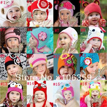 Free Shipping Various Children Crochet Beanie Pattern,Girls' Flower Cap,Handmade Baby Hat,Toddler Knitted Hat 10pcs/lot