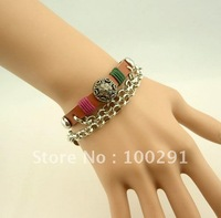 Free shipping!! 20pcs/lot Punk Jelly  Leather Rivet flower  Long Cute Bangle Bracelet
