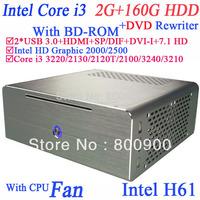 Wholesales mini pc i3 SP/DIF with bluray DVD rewriter BD-ROM Windows 2G RAM 160G HDD 3MB cache HyperThreading Intel HD Graphic