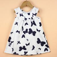 6pcs/lot Girls Dress New Designer 100% cotton 2013 summer butterfly print dress girls summer baby girls child dress