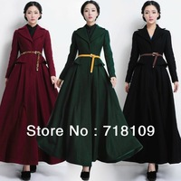 New Women's Fashion Trench Winter Long Slim Lapel Collar Woolen Long Jacket Coat shree shipping