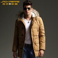 Free shiping Men's raccoon fur berber fleece with a hood medium-long down coat male multi-pocket thickening 12 - 119