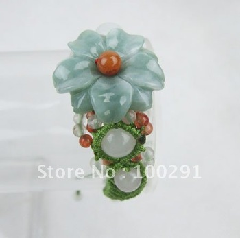 WWQE//Free shipping &   Fashion personality    jade bracelet   with jade flower  mixed with peral beads
