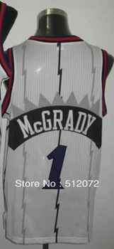 #1 Tracy McGrady Men's Authentic Home White Throwback Basketball Jersey