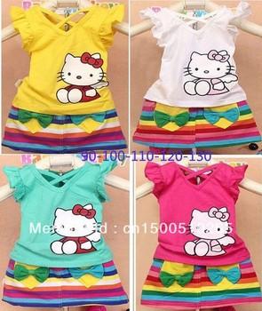 2013 summer Girl hello kitty casual mini dress suit/kids Print rainbow stripe novelty clothing/tshirt+mini skirt girls dress set