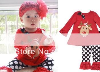 2013 Autumn Christmas Gilrs Lotus leaf sleeve Dot Pants Outfits Kids girls cartoon animal Red Shirt Suits Hot Sale