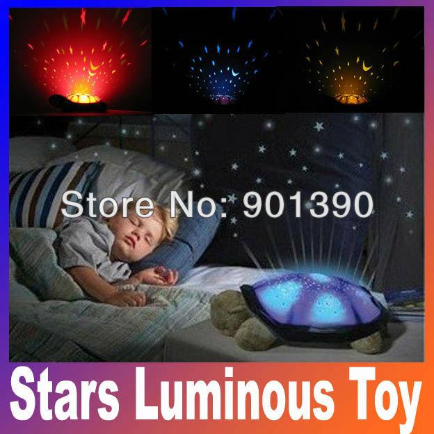 Feeding Stuffed Animals Plush Movies TV Baby kids Classic Toy sleep turtle lights the stars Luminous toy pink gray Free Shipping(China (Mainland))