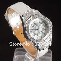 free shipping fashion womens diamond case black noble leather wrist quartz watch high quality stylish