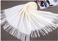 Winter Cream Plain Women's Cashmere Shawl Scarf New Thick Warm Wrap Free shipping SW0035