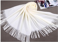 Winter Cream Plain Women's Cashmere Shawl Scarf New Thick Warm Wrap Free shipping SW0035