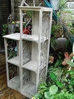 Garden decoration french vintage retro finishing iron wood flower home combination display rack
