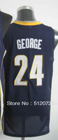 #24 Paul George Men's Authentic Road Navy Basketball Jersey